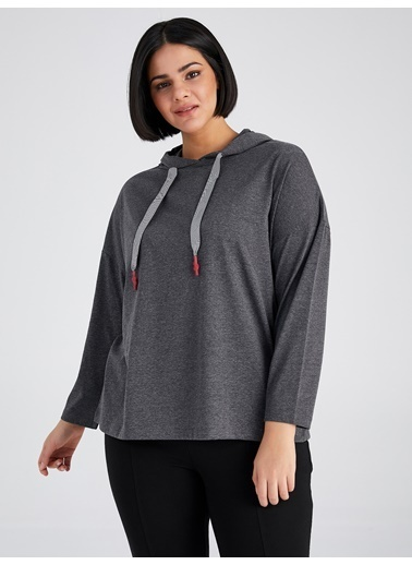 Faik Sönmez  Kapüşonlu Uzun Kollu T-Shirt 61821 Antrasit